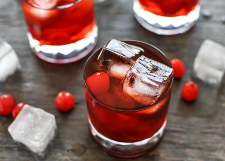 Cherry bourbon drink