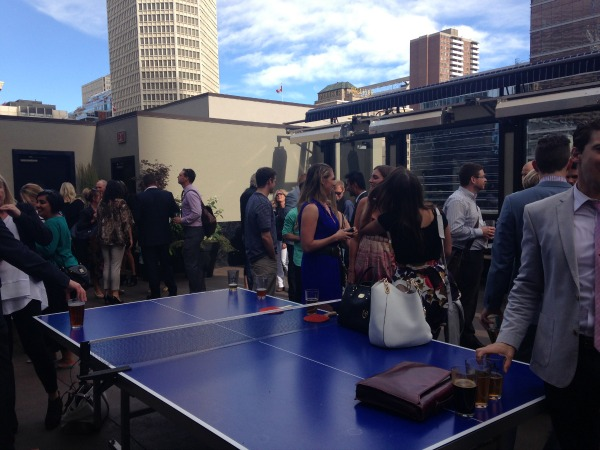 Ping pong table on rooftop patio