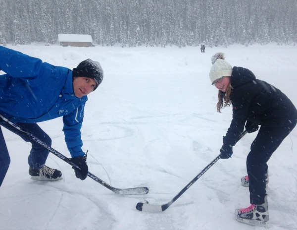 father and daughter hockey
