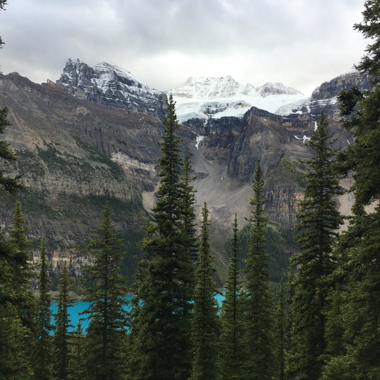 view of moraine lake from larch valley trail