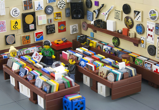 Record store made out of Lego