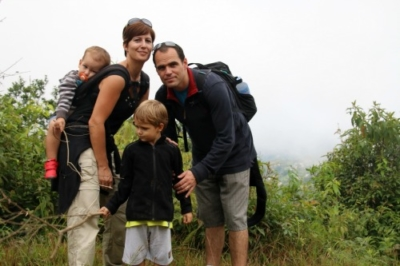 Family of four hiking