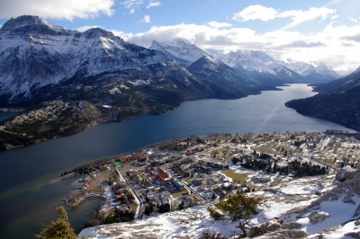 Waterton town winter