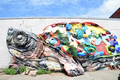 reclaimed sea garbage art